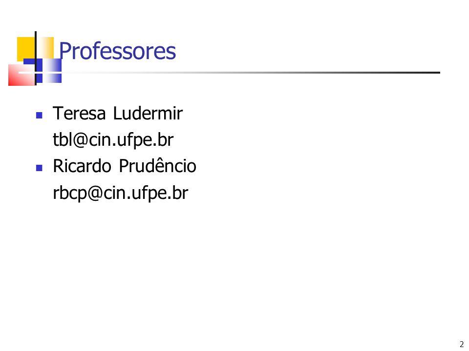 Professores Teresa Ludermir tbl@cin.ufpe.br Ricardo Prudêncio