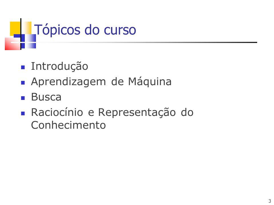 Tópicos do curso Introdução Aprendizagem de Máquina Busca