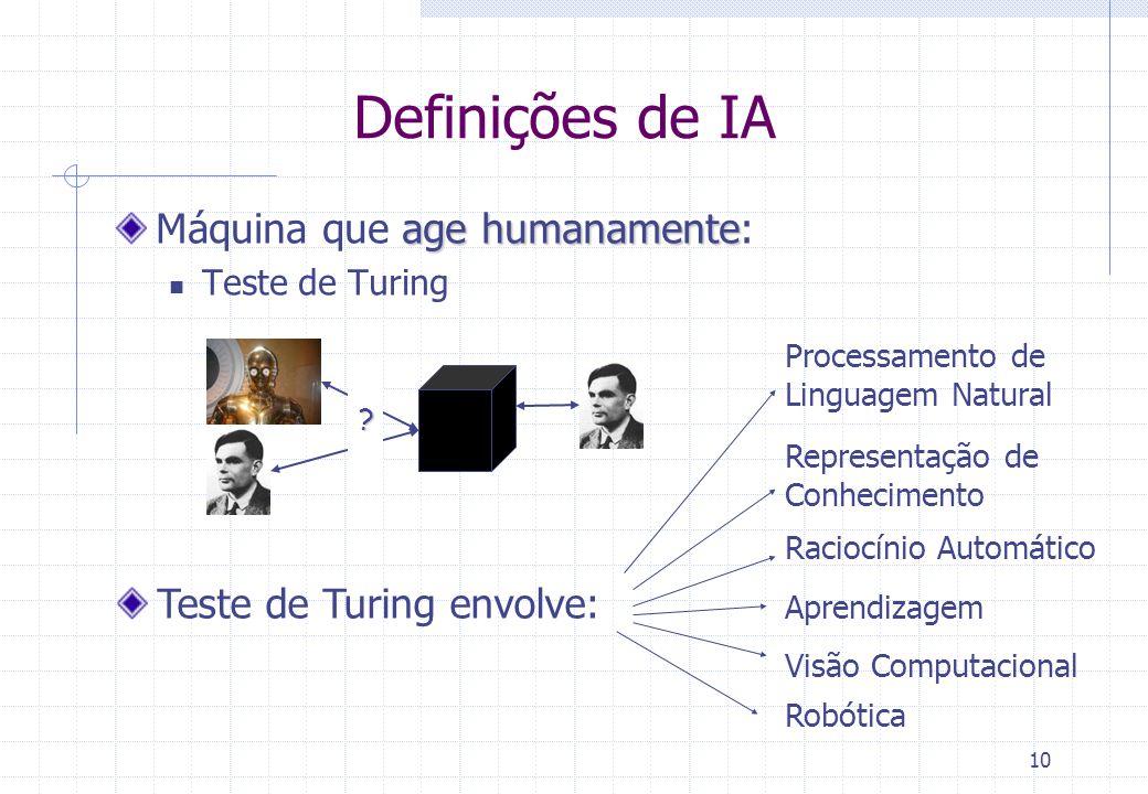 Definições de IA Máquina que age humanamente: Teste de Turing envolve: