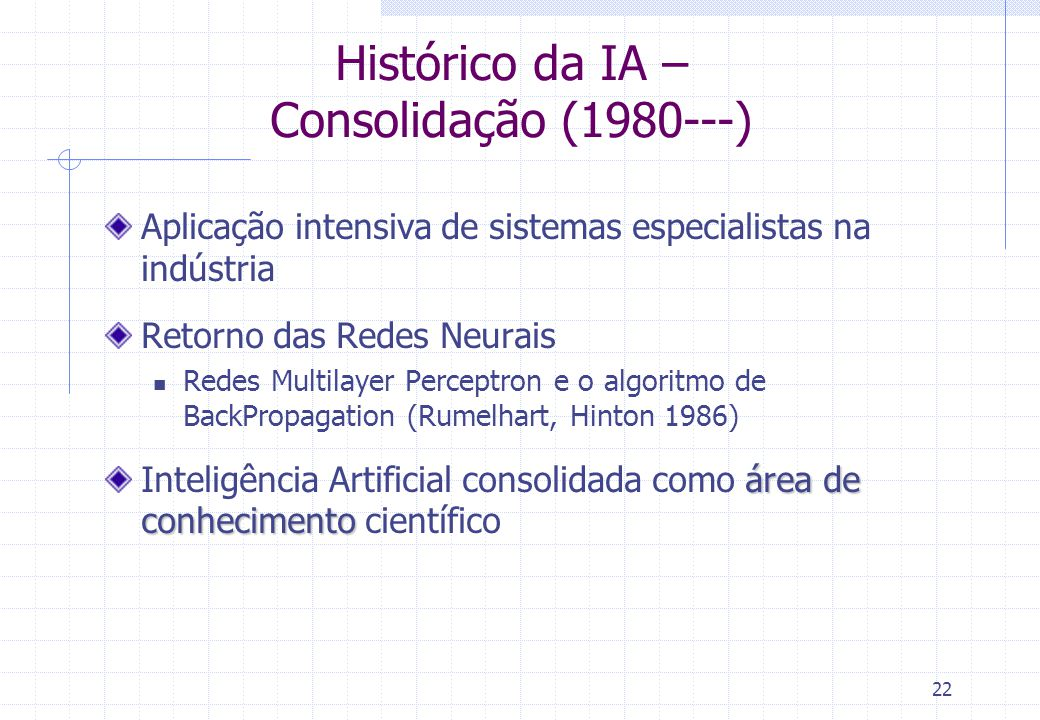 Histórico da IA – Consolidação (1980---)