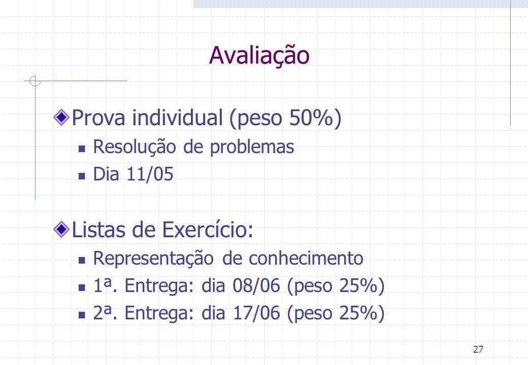 Avaliação Prova individual (peso 50%) Listas de Exercício: