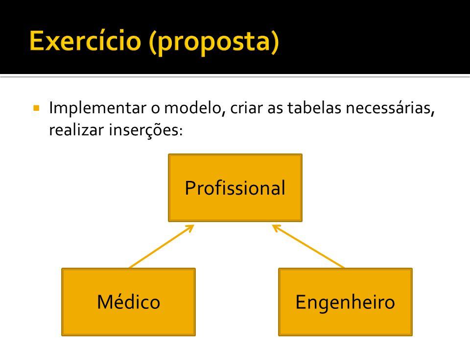 Exercício (proposta) Profissional Médico Engenheiro