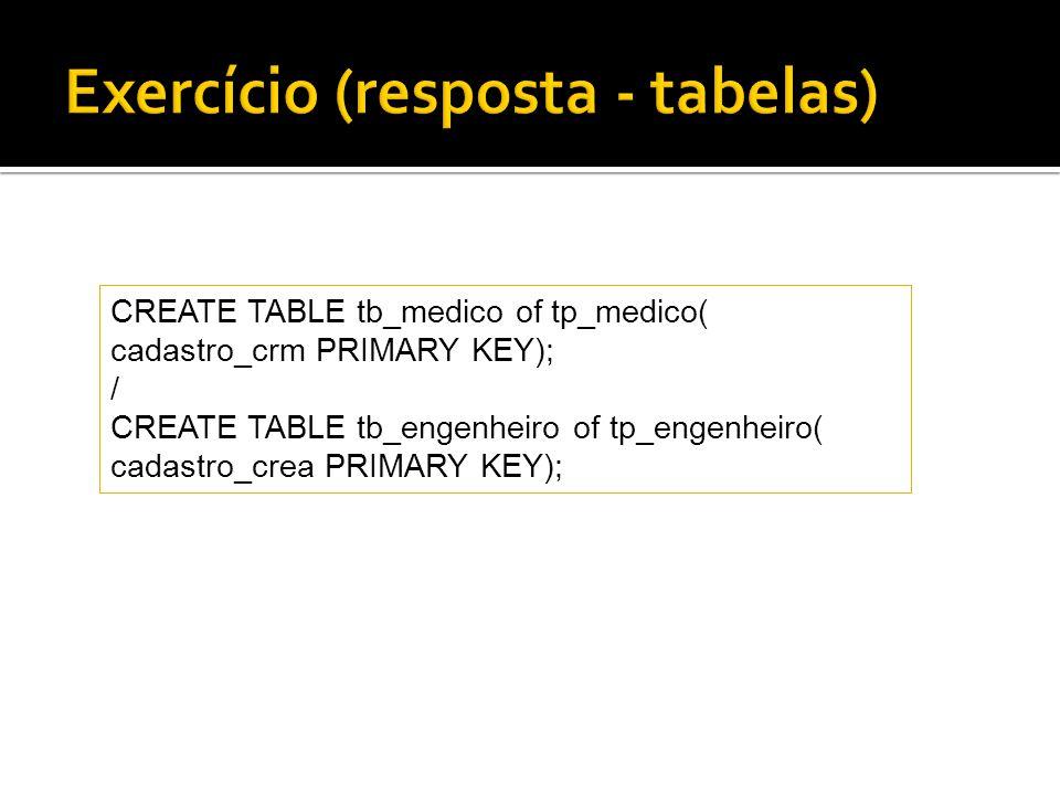 Exercício (resposta - tabelas)