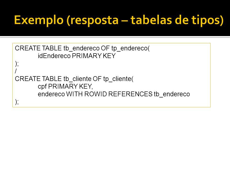 Exemplo (resposta – tabelas de tipos)