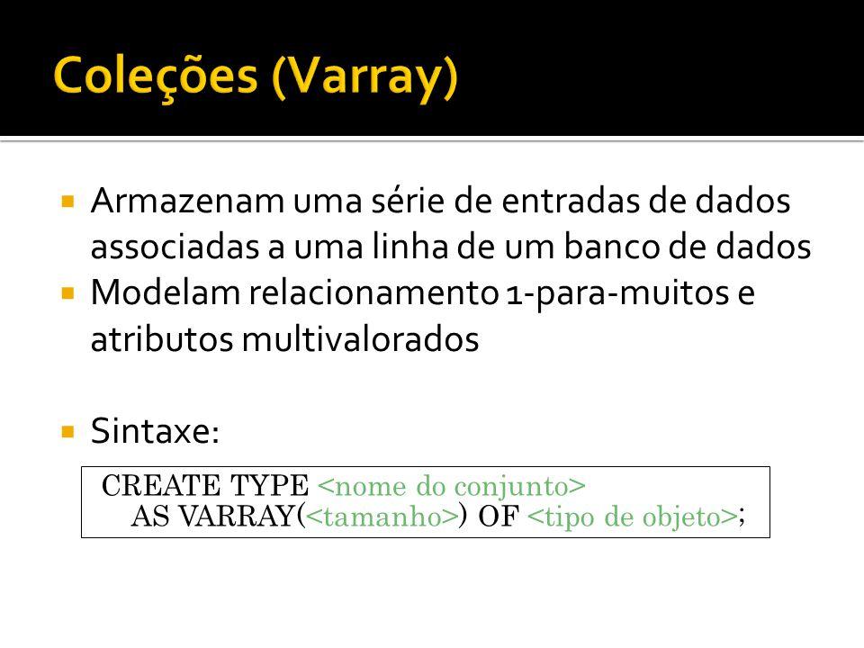 Coleções (Varray) Armazenam uma série de entradas de dados associadas a uma linha de um banco de dados.