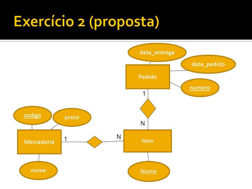 Exercício 2 (proposta) data_entrega data_pedido Pedido numero 1 codigo