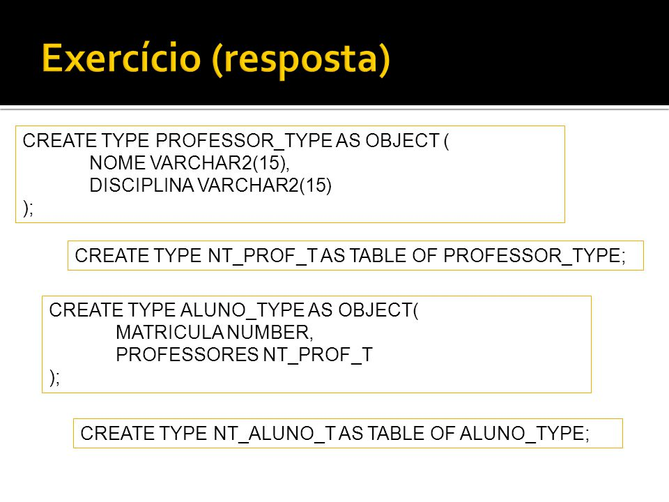 Exercício (resposta) CREATE TYPE PROFESSOR_TYPE AS OBJECT (