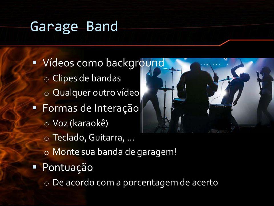 Garage Band Vídeos como background Formas de Interação Pontuação