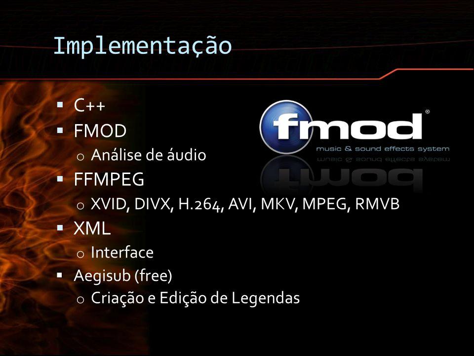 Implementação C++ FMOD FFMPEG XML Análise de áudio