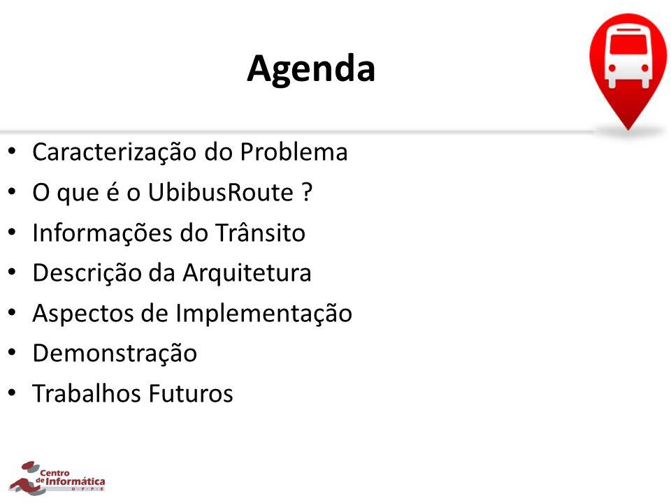 Agenda Caracterização do Problema O que é o UbibusRoute