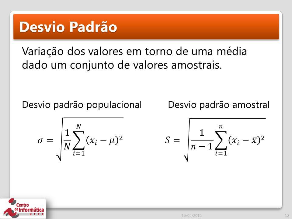 Desvio Padrão Variação dos valores em torno de uma média dado um conjunto de valores amostrais. Desvio padrão populacional Desvio padrão amostral.