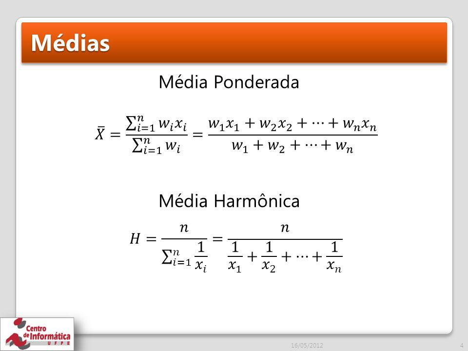 Médias Média Ponderada Média Harmônica