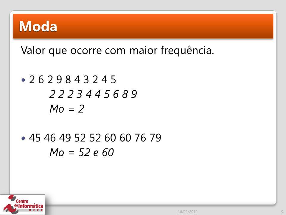 Moda Valor que ocorre com maior frequência. 2 6 2 9 8 4 3 2 4 5