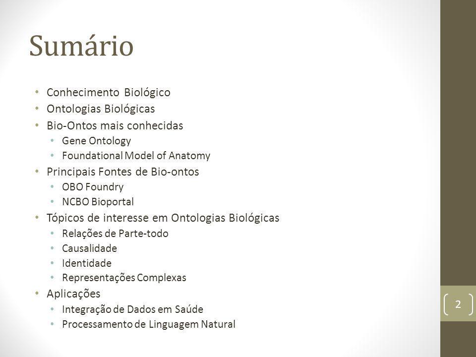 Sumário Conhecimento Biológico Ontologias Biológicas