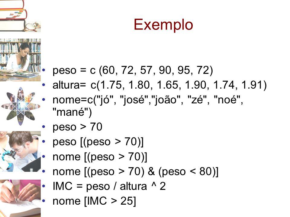 Exemplo peso = c (60, 72, 57, 90, 95, 72) altura= c(1.75, 1.80, 1.65, 1.90, 1.74, 1.91) nome=c( jó , josé , joão , zé , noé , mané )