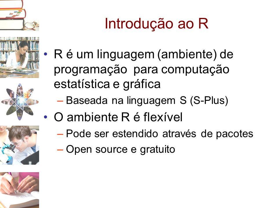 Introdução ao R R é um linguagem (ambiente) de programação para computação estatística e gráfica. Baseada na linguagem S (S-Plus)