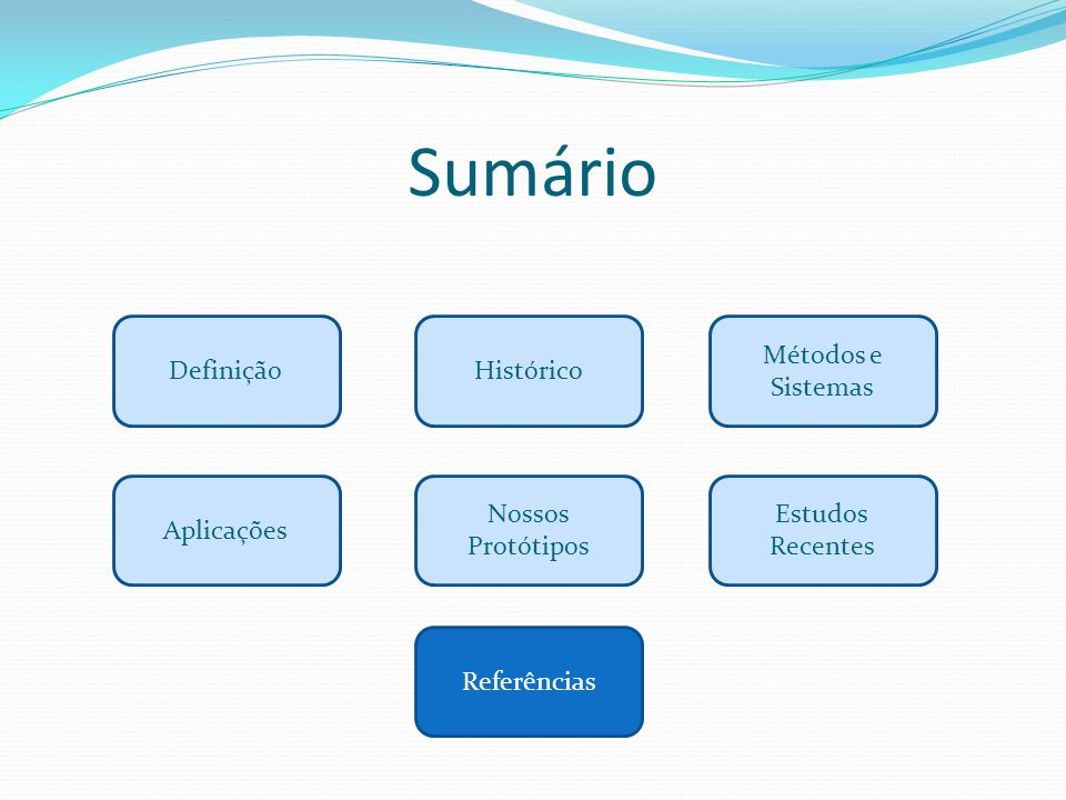 Sumário Definição Histórico Métodos e Sistemas Aplicações
