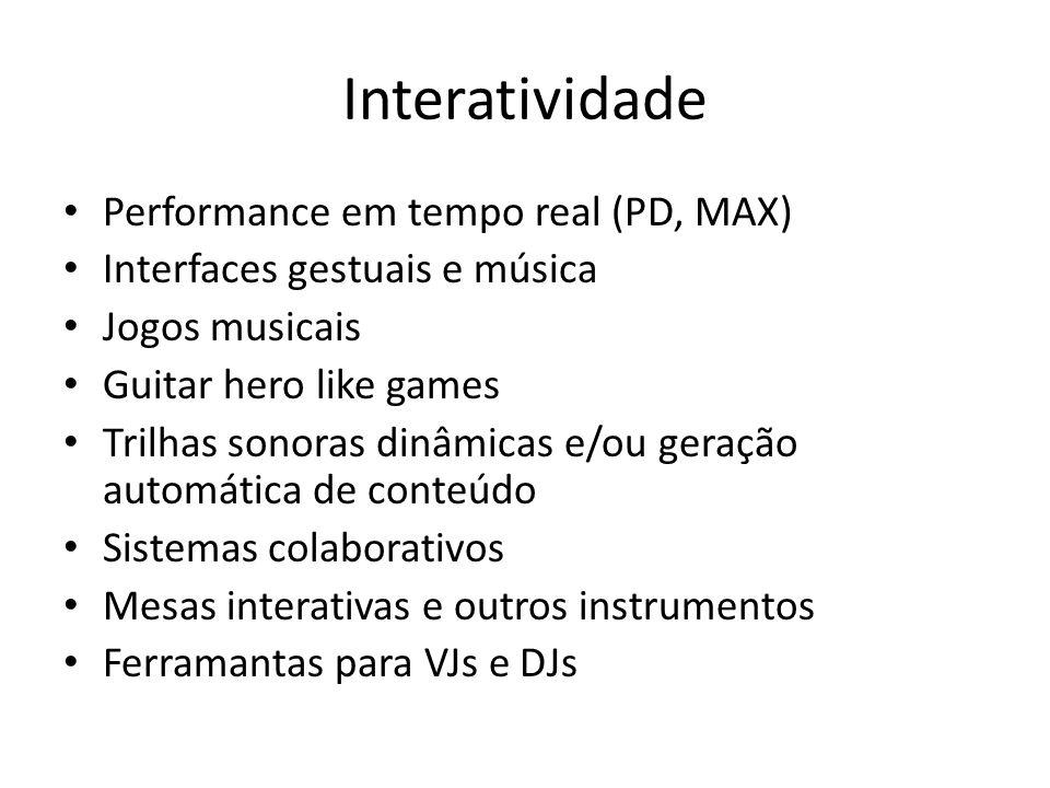 Interatividade Performance em tempo real (PD, MAX)