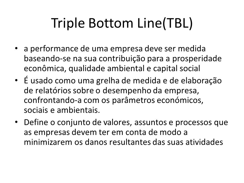 Triple Bottom Line(TBL)