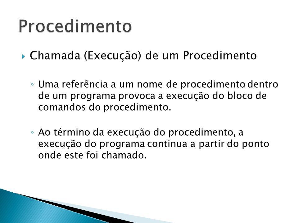 Procedimento Chamada (Execução) de um Procedimento