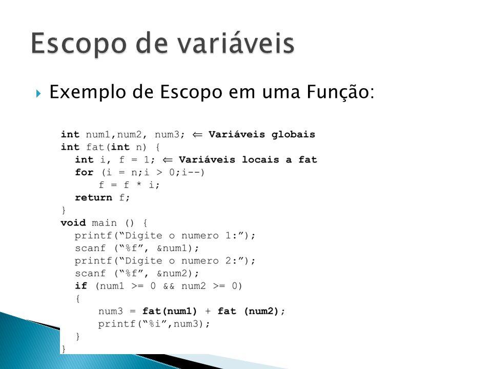 Escopo de variáveis Exemplo de Escopo em uma Função: