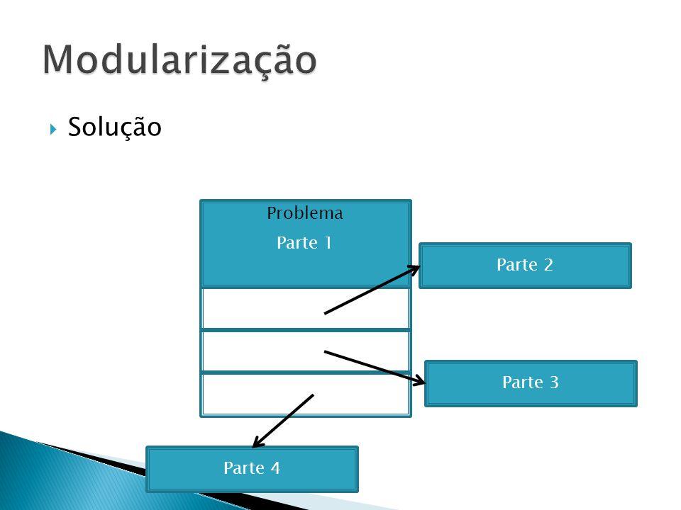 Modularização Solução Parte 1 Parte 1 Problema Parte 2 Parte 2 Parte 3