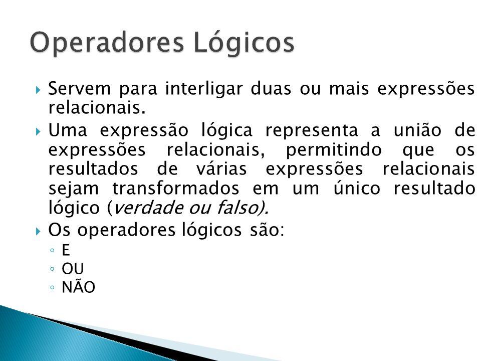 Operadores Lógicos Servem para interligar duas ou mais expressões relacionais.