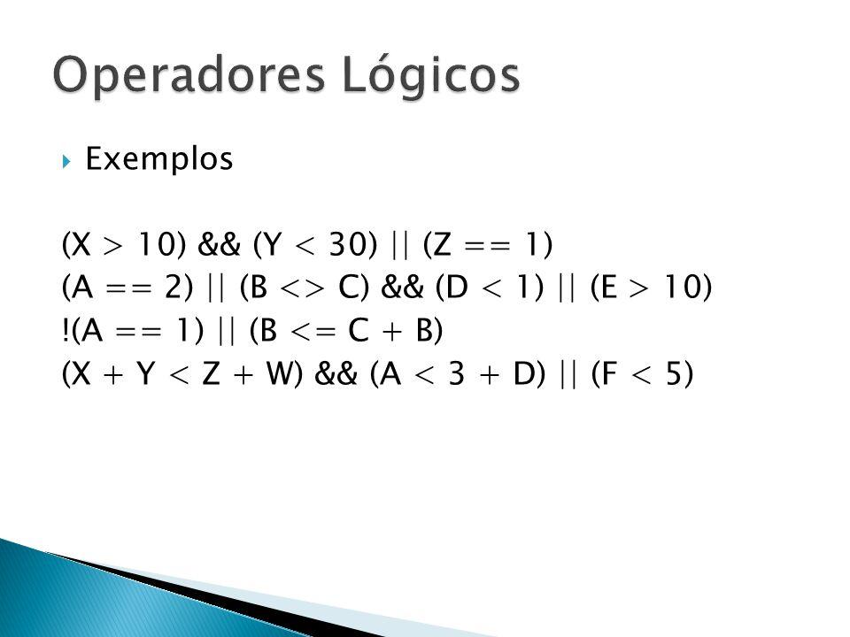 Operadores Lógicos Exemplos (X > 10) && (Y < 30) || (Z == 1)
