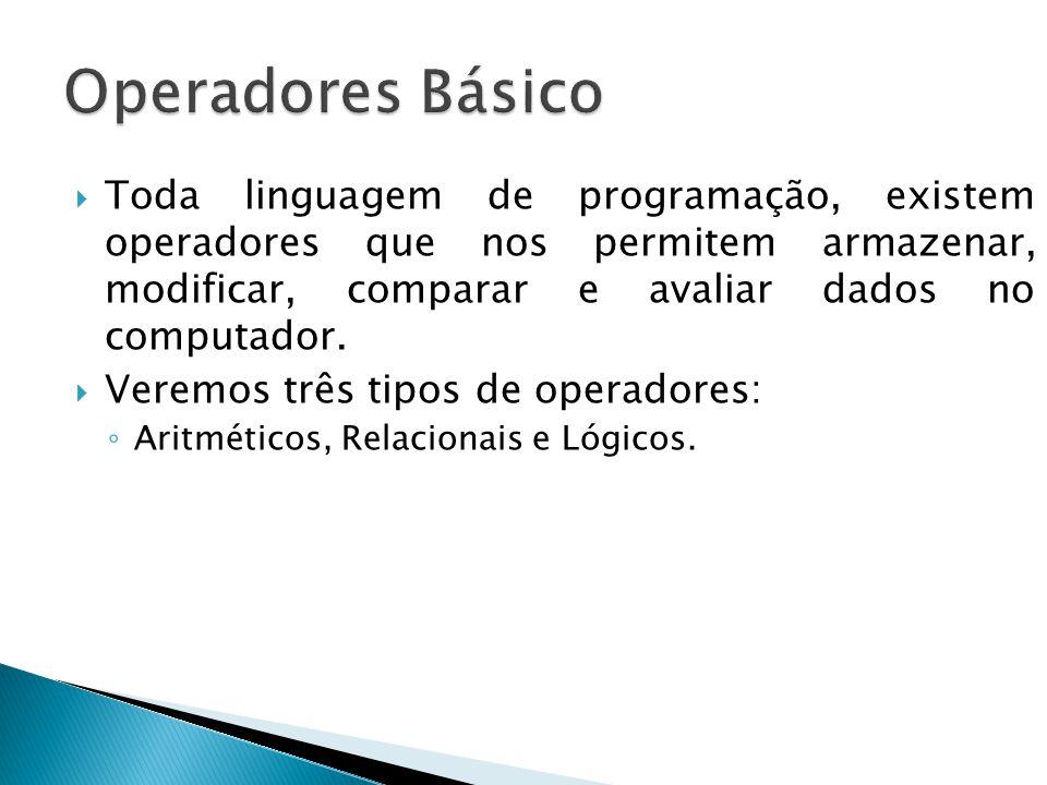 Operadores Básico Toda linguagem de programação, existem operadores que nos permitem armazenar, modificar, comparar e avaliar dados no computador.