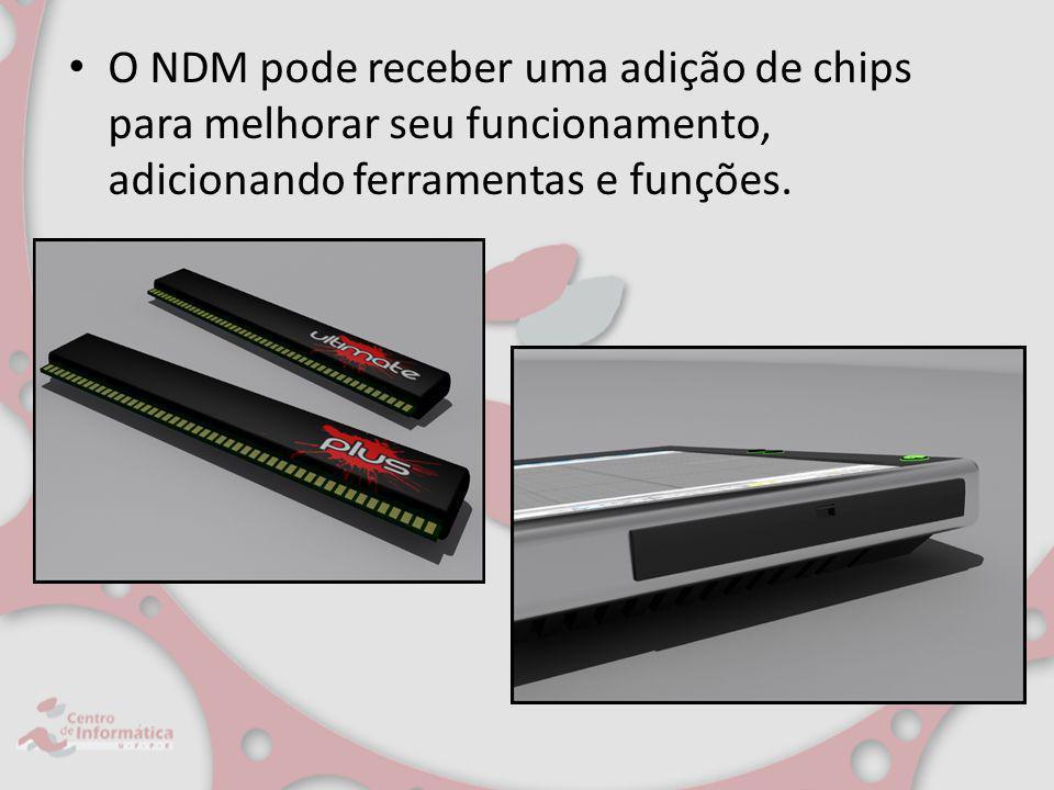 O NDM pode receber uma adição de chips para melhorar seu funcionamento, adicionando ferramentas e funções.
