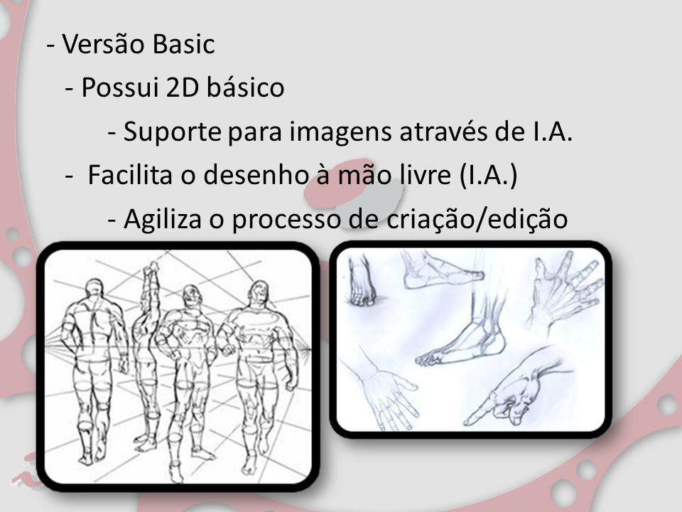 - Versão Basic - Possui 2D básico - Suporte para imagens através de I