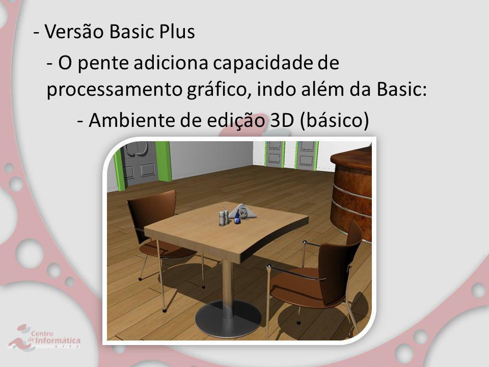 - Versão Basic Plus - O pente adiciona capacidade de processamento gráfico, indo além da Basic: - Ambiente de edição 3D (básico)