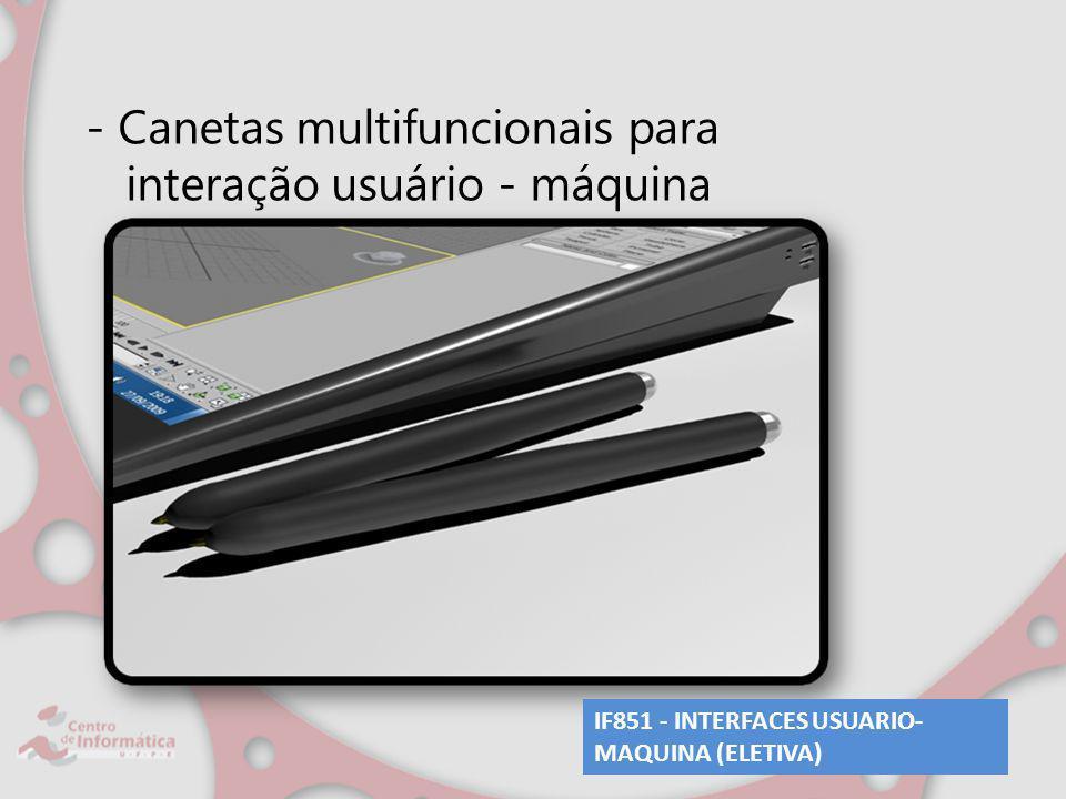 - Canetas multifuncionais para interação usuário - máquina