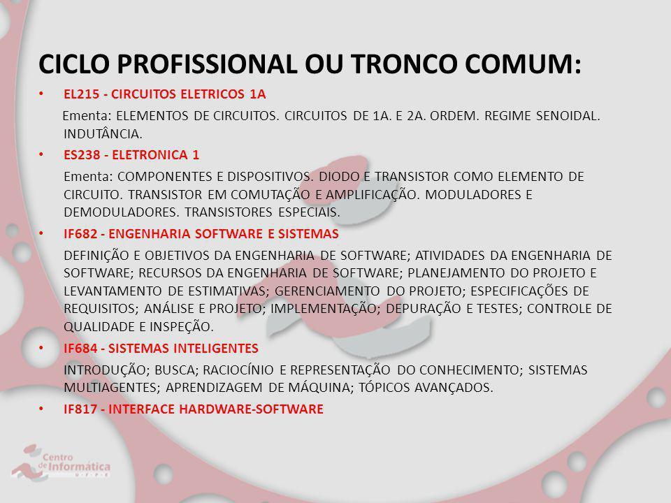 CICLO PROFISSIONAL OU TRONCO COMUM: