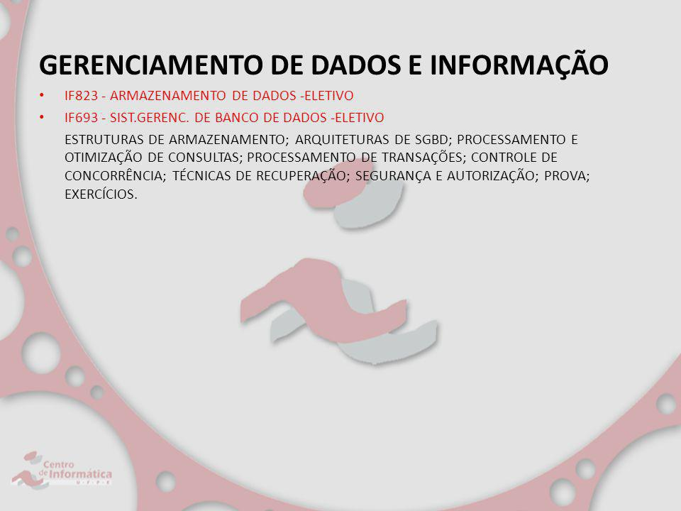 GERENCIAMENTO DE DADOS E INFORMAÇÃO