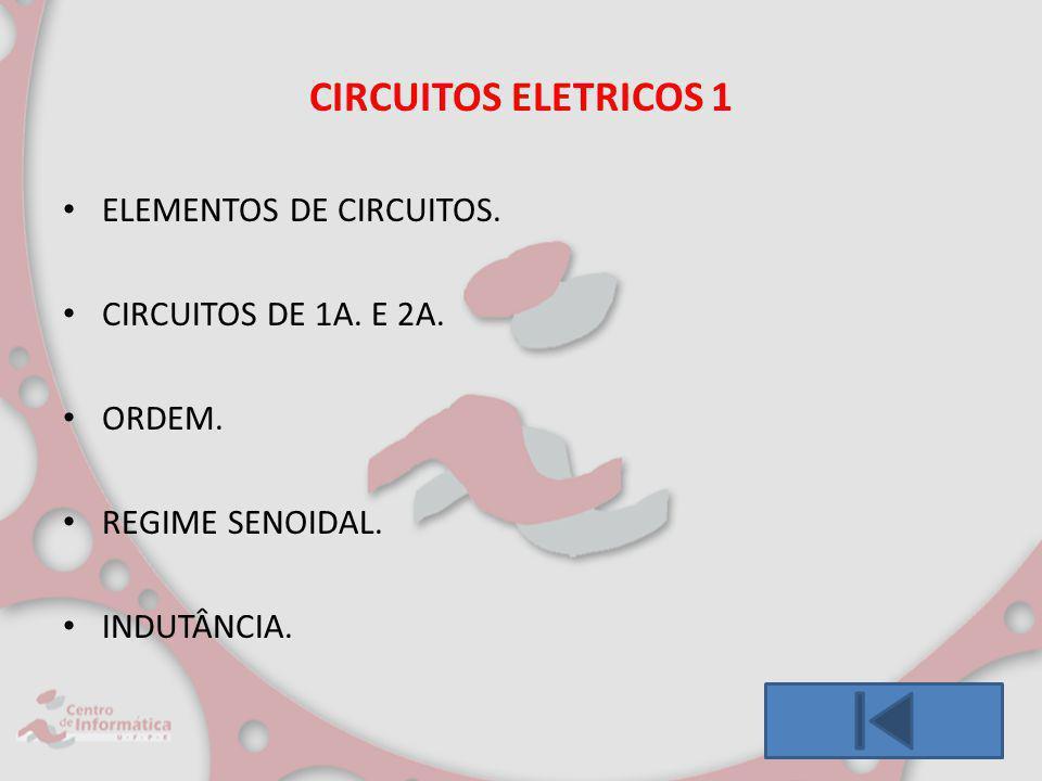 CIRCUITOS ELETRICOS 1 ELEMENTOS DE CIRCUITOS. CIRCUITOS DE 1A. E 2A.