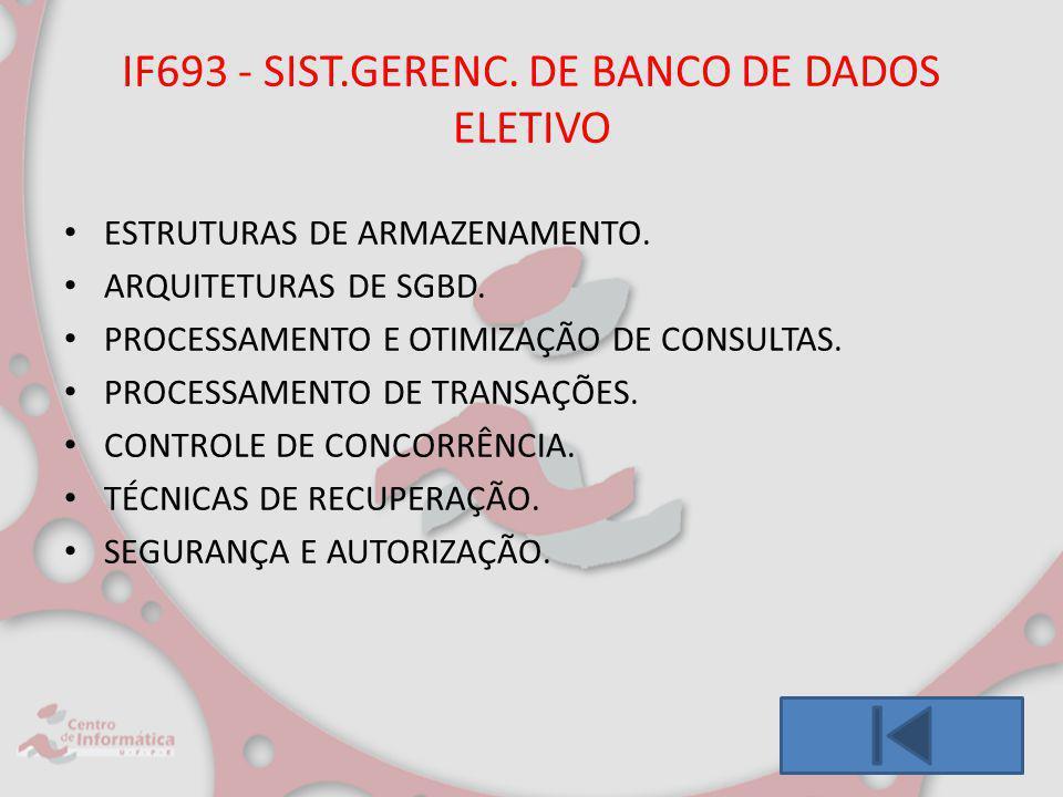 IF693 - SIST.GERENC. DE BANCO DE DADOS ELETIVO