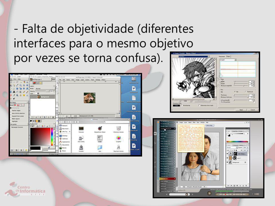 - Falta de objetividade (diferentes interfaces para o mesmo objetivo por vezes se torna confusa).