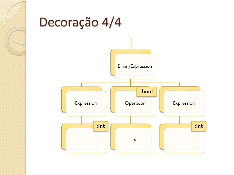 Decoração 4/4 :bool :int :int BinaryExpression Expression ... Operador