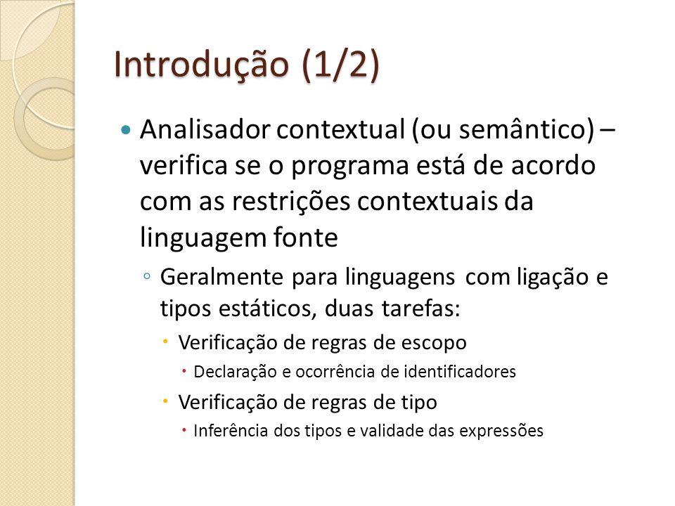 Introdução (1/2) Analisador contextual (ou semântico) – verifica se o programa está de acordo com as restrições contextuais da linguagem fonte.