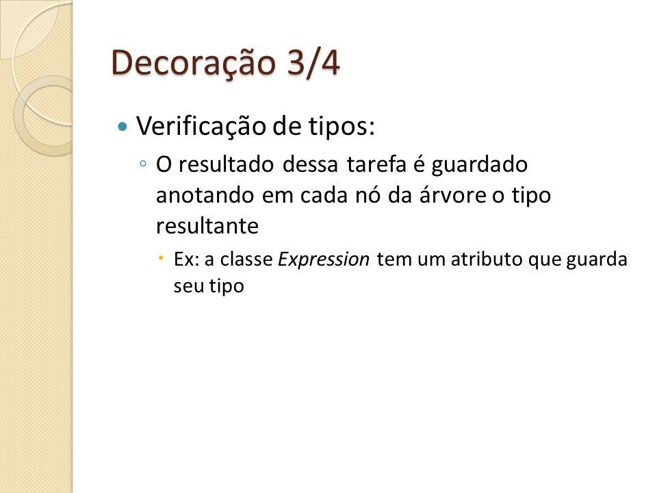 Decoração 3/4 Verificação de tipos: