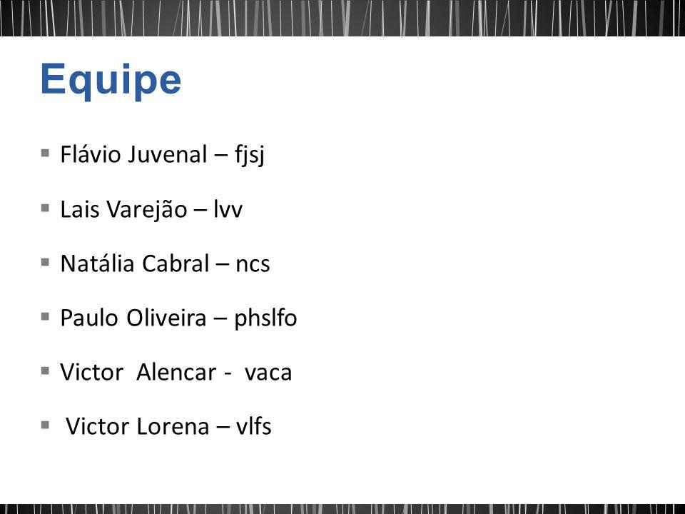 Equipe Flávio Juvenal – fjsj Lais Varejão – lvv Natália Cabral – ncs