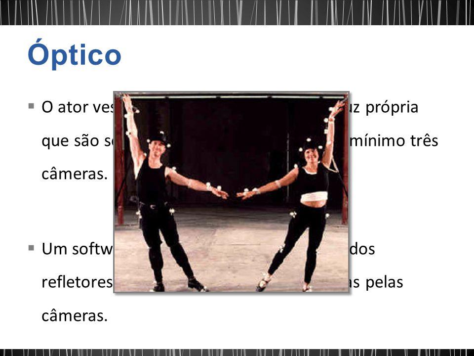 Óptico O ator veste marcações refletivas ou de luz própria que são seguidas por um conjunto de no mínimo três câmeras.