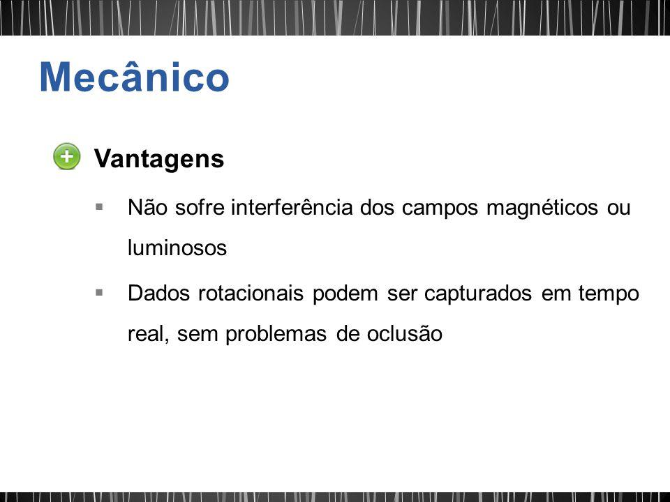 Mecânico Vantagens. Não sofre interferência dos campos magnéticos ou luminosos.