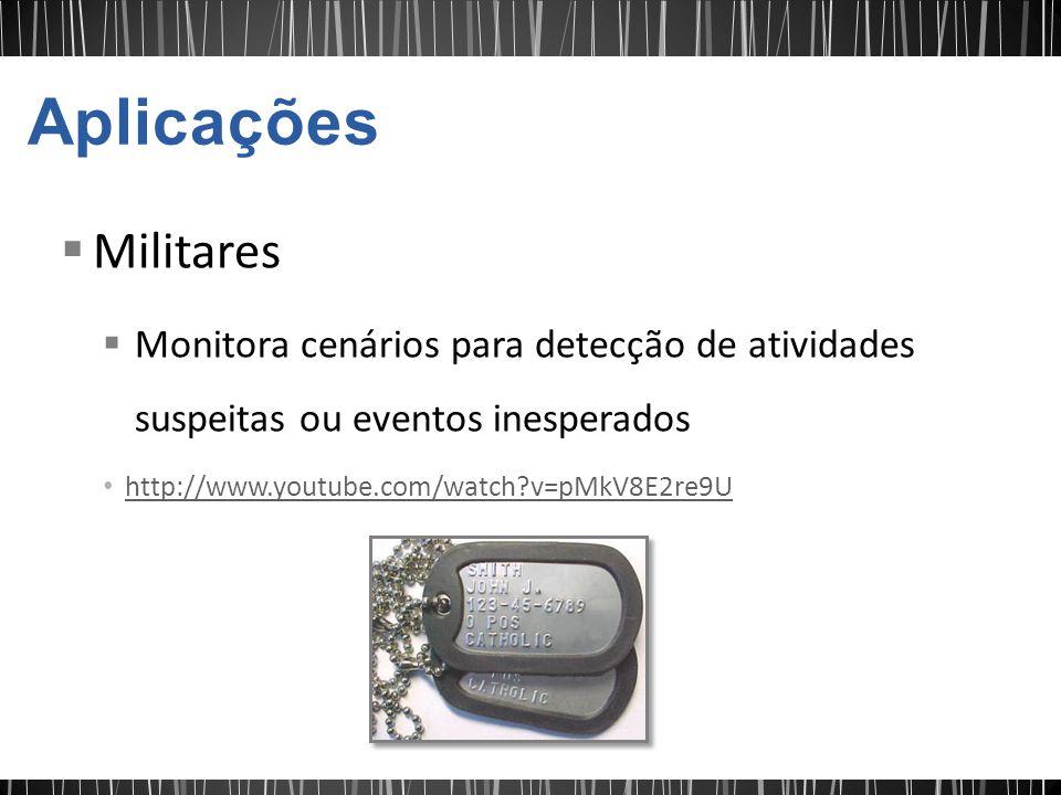 Aplicações Militares. Monitora cenários para detecção de atividades suspeitas ou eventos inesperados.