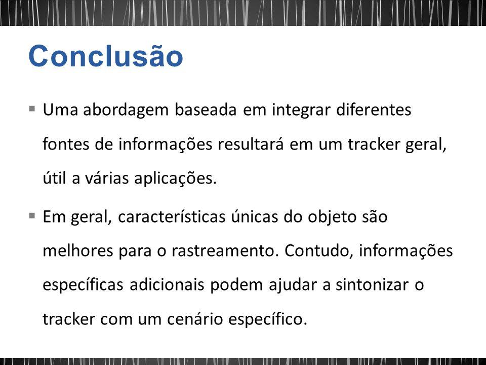 Conclusão Uma abordagem baseada em integrar diferentes fontes de informações resultará em um tracker geral, útil a várias aplicações.