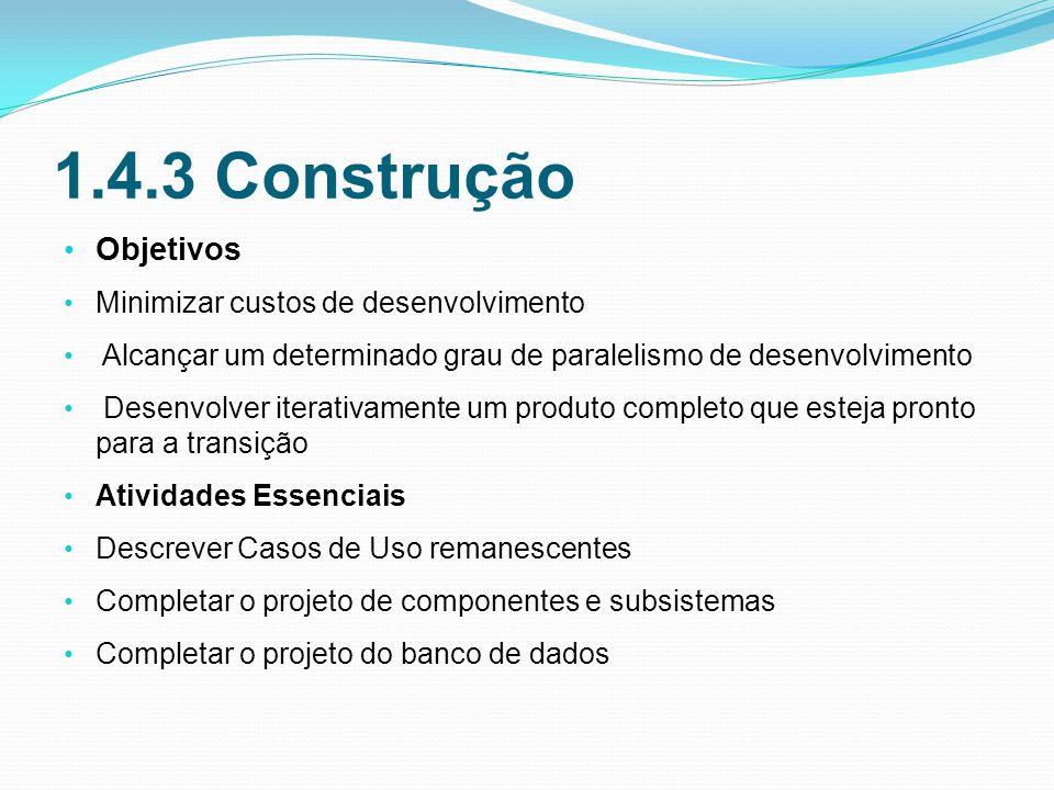 1.4.3 Construção Objetivos Minimizar custos de desenvolvimento