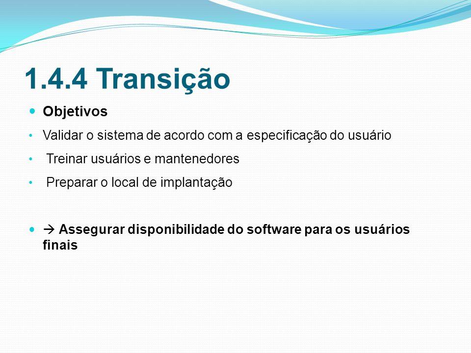 1.4.4 Transição Objetivos. Validar o sistema de acordo com a especificação do usuário. Treinar usuários e mantenedores.