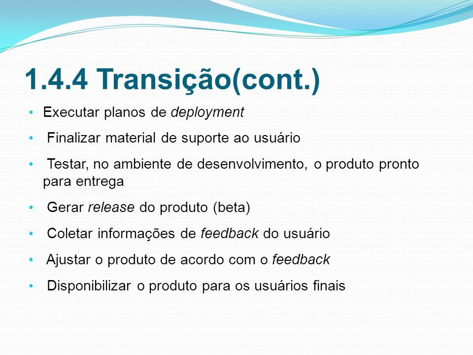 1.4.4 Transição(cont.) Executar planos de deployment