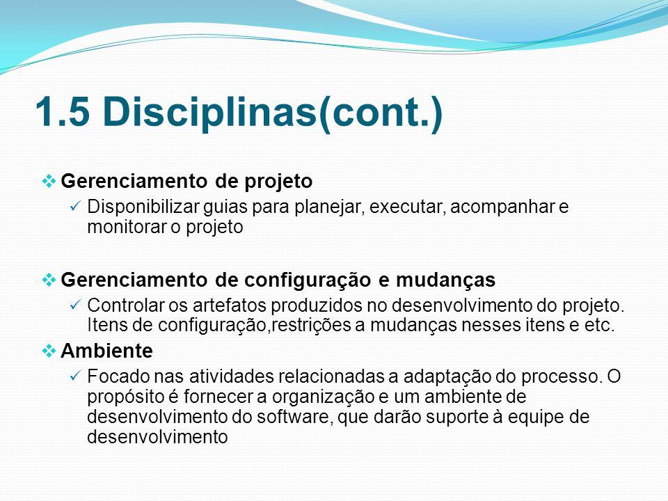 1.5 Disciplinas(cont.) Gerenciamento de projeto